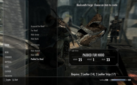 Forge menu in Skyrim