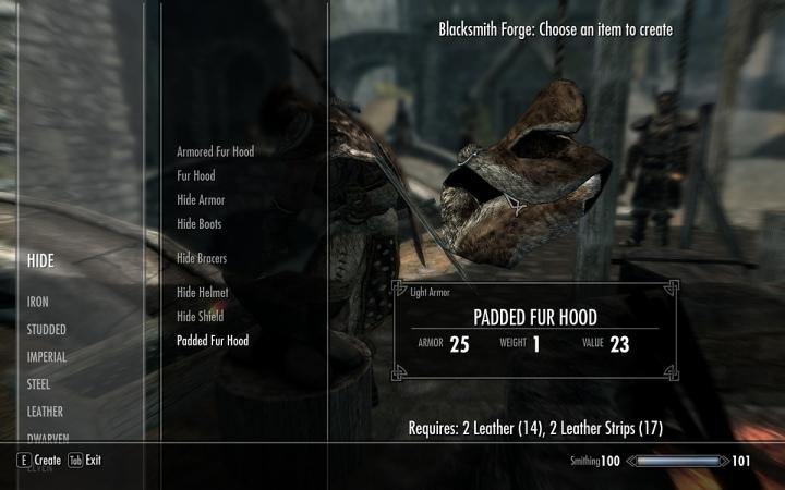 Forge menu in Skyrim