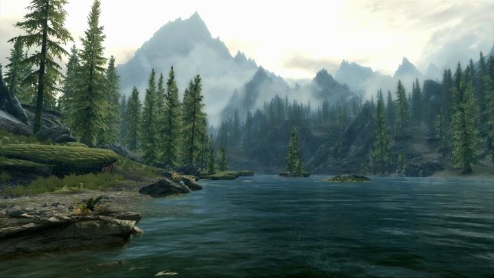 Scenic lake in Skyrim