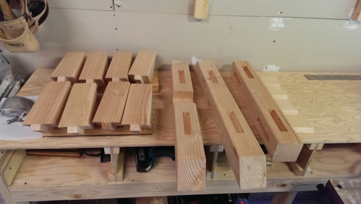 Mortised and tenoned pieces ready for assembly.