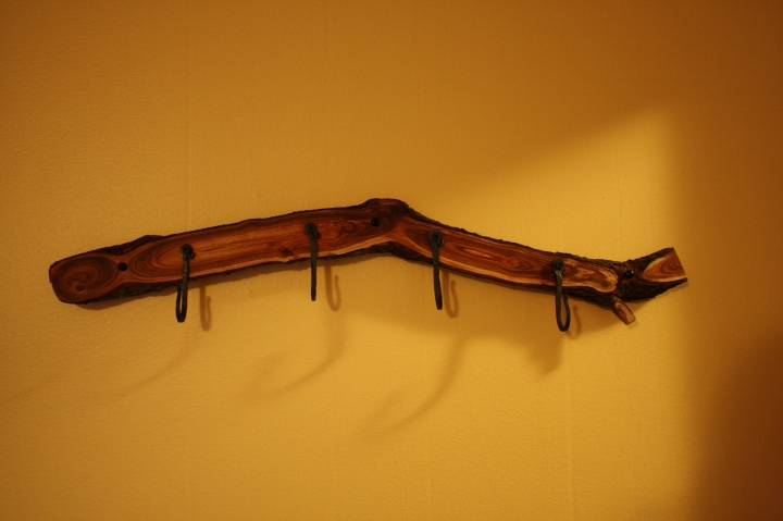 Hand-forged hooks on a plum tree branch.