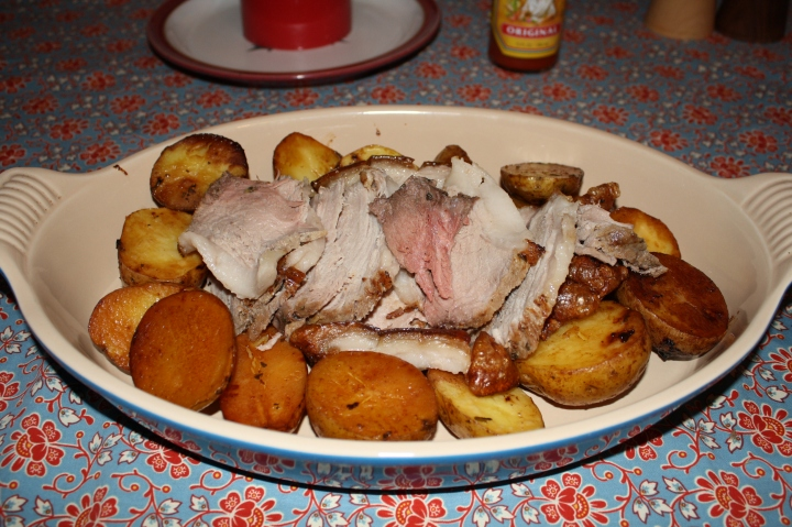 Pork roast from a pig that we butchered.