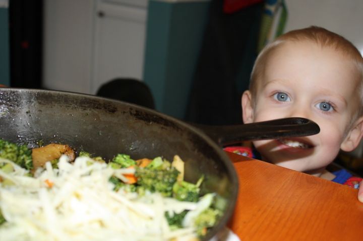 Making hash with the kiddo.