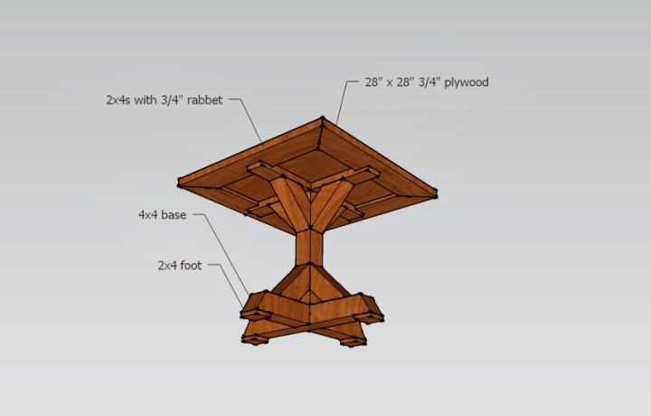 Table schematic - bottom view.